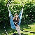 Eyepower XXL Hängesessel 185x130cm Hängestuhl bis 150 kg Baumwolle Hängesitz 2 Personen Hängematte Hängeschaukel Pazifik Blau von Omnideal - Gartenmöbel von Du und Dein Garten