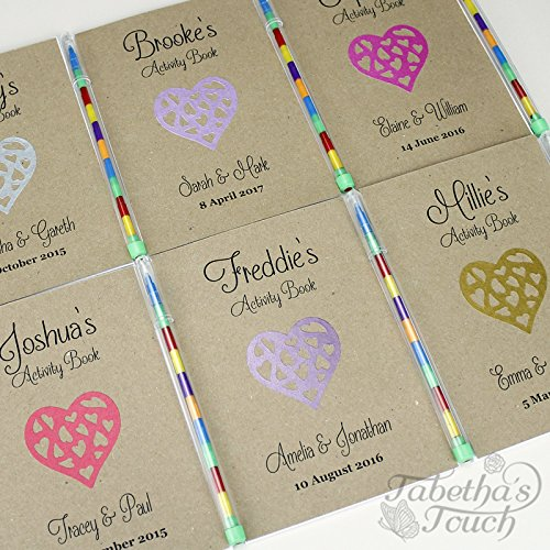 personalised-a6-childrens-wedding-activity-favour-book-gift-pack-bag-party-kraft-heart-11-colours