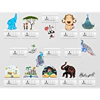 Rawpockets Combo No.12' Switch Board Sticker Set (PVC Vinyl, 12 cm x 12cm, Set of 13)