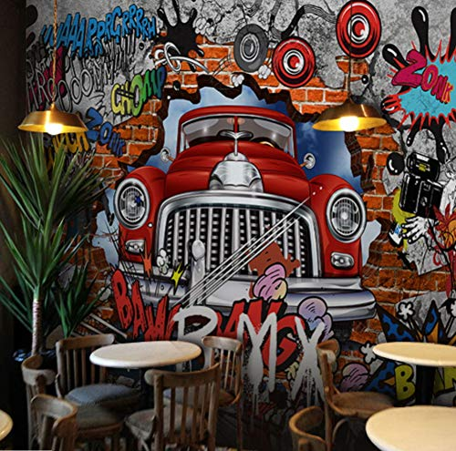 Foto-Tapete Graffiti-Tapete Auto brechen Wand Tapete Bar Lounge Ktv Box Cafe Wallpaper Wandbild,256cmx350cm