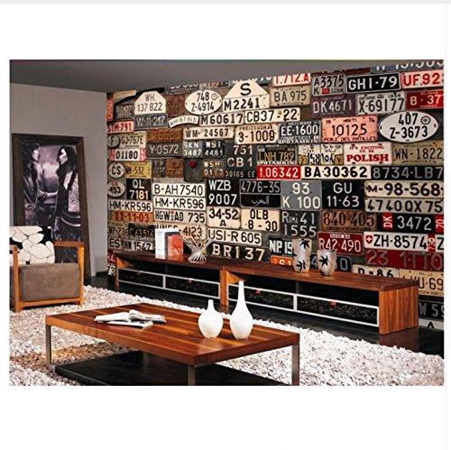 3D Wallpaper Wandbild Papier Benutzerdefinierte Foto Wandbild Europäischen Oldtimer Nummernschild Hintergrund Wand Wandbilder Tapeten Für Wände Seidentuch-Aufkleber300X210Cm,Ayzr
