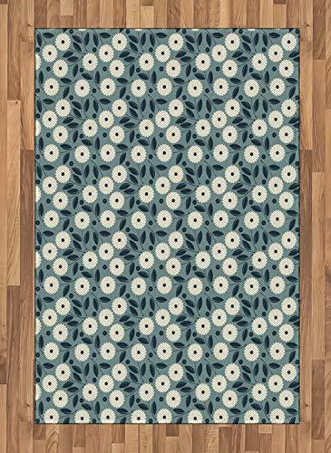 ABAKUHAUS Elfenbein und Blau Teppich, Romantische Blumen, Deko-Teppich Digitaldruck, Färben mit langfristigen Halt, 120 x 180 cm, Blaugrau Dunkelblau und Elfenbein - Elfenbein Blumen-bereich Teppich