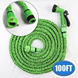 #10: Insasta Magic Hose 100 Feet/30.48 Meter Super Strong Garden Hose /Magic Expandable Hose, 75 Ft Expandable Garden Hose with 7 Function Spray Nozzle and Shut-off Valve, Extra Strength Fabric (Color May Vary)