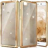 ONEFLOW Huawei P8 Lite 2015 | Hülle Glitzer Gold Silikon Shiny Back-Cover Silikonhülle Glitter Schutzhülle Ultra-Slim Case für Huawei P8 Lite 2015 Handy-Hülle Dünn Tasche