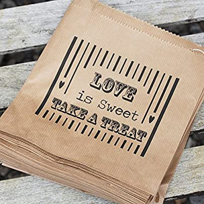 Luck And Luck Kraft Brown 'Love Is Sweet' Bag - Wedding Sweet Candy Bar x 90 Favours - low-cost UK bar stool store.