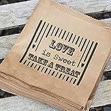 Luck-and-Luck-Papiertten-Aufschrift-Love-is-Sweet-ideal-fr-Hochzeiten-Braun-90-Stck