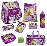 Disney Princess Rapunzel Prinzessin Schulranzen Set 9tlg. mit Federmappe gefüllt Sporttasche Dose/Flasche Scooli Campus Up RAVT8252