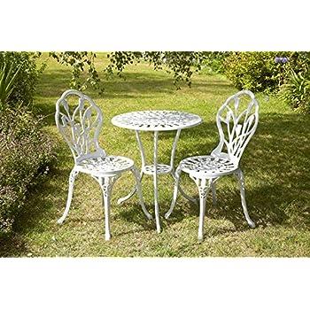 garten bistro sitzgarnitur tulpen design 1 tisch 2 st hle aluguss wei. Black Bedroom Furniture Sets. Home Design Ideas