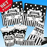 Black&White Geburtstag-Deko-Set, 50-teilig zur Schwarz-Weiß Motto-Party, 8 Pers