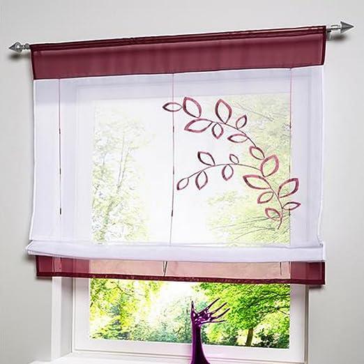 Amazon.de: Souarts Lila Blumen Transparent Gardine Vorhang ...