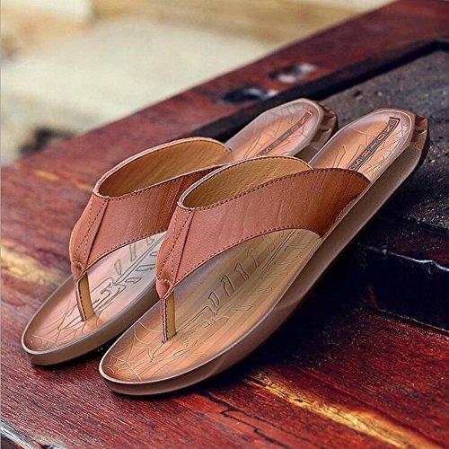 Herren Slipper Fashion Leder Flip Flops Anti-Rutsch weiche und bequeme Sandalen Brown W7clTsd