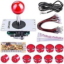 Quimat Cero Retraso Juego de Arcade Joystick USB Codificador Kit de Bricolaje PC para Mame Jamma Raspberry Pi y Juego de Lucha Rojo QR02