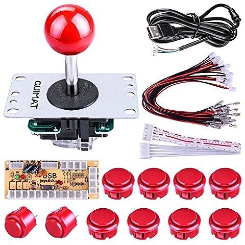Quimat Arcade Kit ,Game handle,Kit de Jeu d'arcade de Bricolage Pour PC et Raspberry Pi 1/2/3 avec RetroPie, Joystick 5Pin, 8x 30MM et 2x 24MM Boutons < Rouge