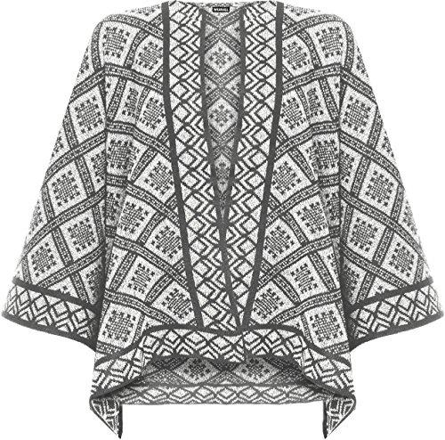 WEARALL Femmes Tricoté Poncho Casquette Dames Diamant Aztec Imprimer Sans Manches Enveloppe Haut - 36-54 Crème
