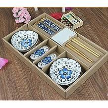 Monicaxin - Juego de mesa con palillos chinos, cuencos, apoyapalillos, de porcelana para regalo de cumpleaños, de boda, de empresa