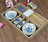 Monicaxin Colorati Set da Tavola Bacchette Cinesi ciotole Poggiabacchette con la Porcellana per Regali di Compleanno di Nozze Business (Blu1)