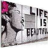 murando Cuadro en Lienzo Grande Formato Impresion en calidad fotografica! Cuadro en lienzo tejido-no tejido 3 partes Banksy 030115-3 120x80 cm