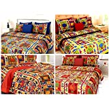 Jaipuri Traditional Designing Hand Printed Combo Offer 4 Double Bedsheet With 8 Pillow Covers - King Size, Blue,Yellow,Red,Orange.