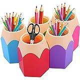 Pot à Crayons Lot de 5 Assortd Couleur Stylo Vase Pot à Crayons Maquillage Brosse Support Organiseur de Bureau Papeterie Orga