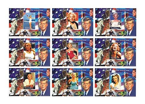 Geschichte der American Cinema - 9 sheetlet Marilyn Monroe und Kennedy Mondlandung Tempel für Sammler gesetzt / 9 MNH Kleinbogen/Madagaskar / 1999 -