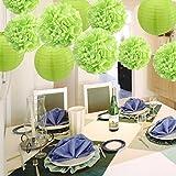 Winko decorazioni di carta velina pom pom fiori lanterne di carta per matrimoni, compleanni e speciali festival party Decoration (7pezzi, verde)