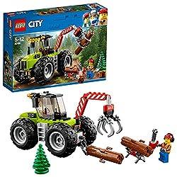 ForsttraktorArbeite mit dem LEGO® City Forsttraktor mit seinem beweglichen Ausleger und zu öffnendem Greifer und den massiven Rädern in der Natur. Mit kleinem Holzstand, 2 Ketten, 2 baubaren Baumstämmen, Tannenbäumchen, Kettensäge und Schaufel. Diese...