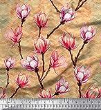 Soimoi Gelb Samt Stoff Chevron & Magnolie Blumen- gedruckt