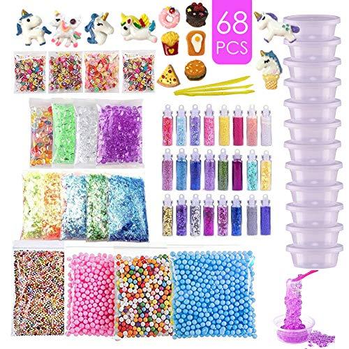 ESSENSON DIY Slime Supplies Kit für Kinder Schleim Selber Machen mit Unicorn Charms, Glitter Sheet Jars, Schaumkugeln, Fruchtscheiben, Goldfischglasperlen, Tools und Container (kein Schleim) -