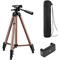 Syvo WT 3130 Aluminum Tripod (50-Inch), Universal Lightweight Tripod with Mobile Phone Holder Mount & Carry Bag for All…