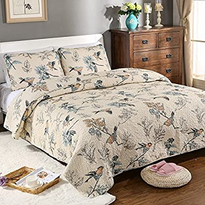 Unimall 100% Cotton Bedspread Patchwork Summer Cotton Quilt 3 Pieces
