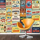 Walplus Stickers muraux 152 x 161 cm Stickers Muraux 'Signe en métal style vintage Collage 1 amovible en vinyle autocollant murale Art Stickers Décoration DIY Salon Chambre Décor Papier Peint, papier Multicolore