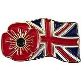 Spilla della bandiera del Regno Unito con papavero, metallo, Union ONE, One