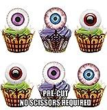 Vorgeschnittene Halloween Augen - Essbare Cupcake Topper / Kuchendekorationen (12 Stück)