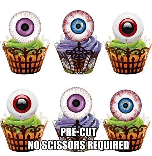 Vorgeschnittene Halloween Augen - Essbare Cupcake Topper / Kuchendekorationen (12 Stück) (Making Halloween Dekoration)
