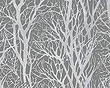 A.S. Création Vliestapete Life 4 Tapete floral natürlich 10,05 m x 0,53 m grau metallic Made in Germany 300943 30094-3