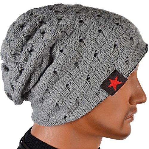 Thenice Cappello Uomo Reversibile Berretto Inverno Cap (Grigio chiaro)