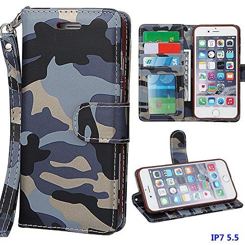 """Hülle für iPhone 7 Plus, xhorizon MW8 Armee Camouflage PU Leder Case Voll Körper Schützender Stand Case mit Kartensteckplätzefür iPhone 7 Plus [5.5""""] Camouflage Blau"""