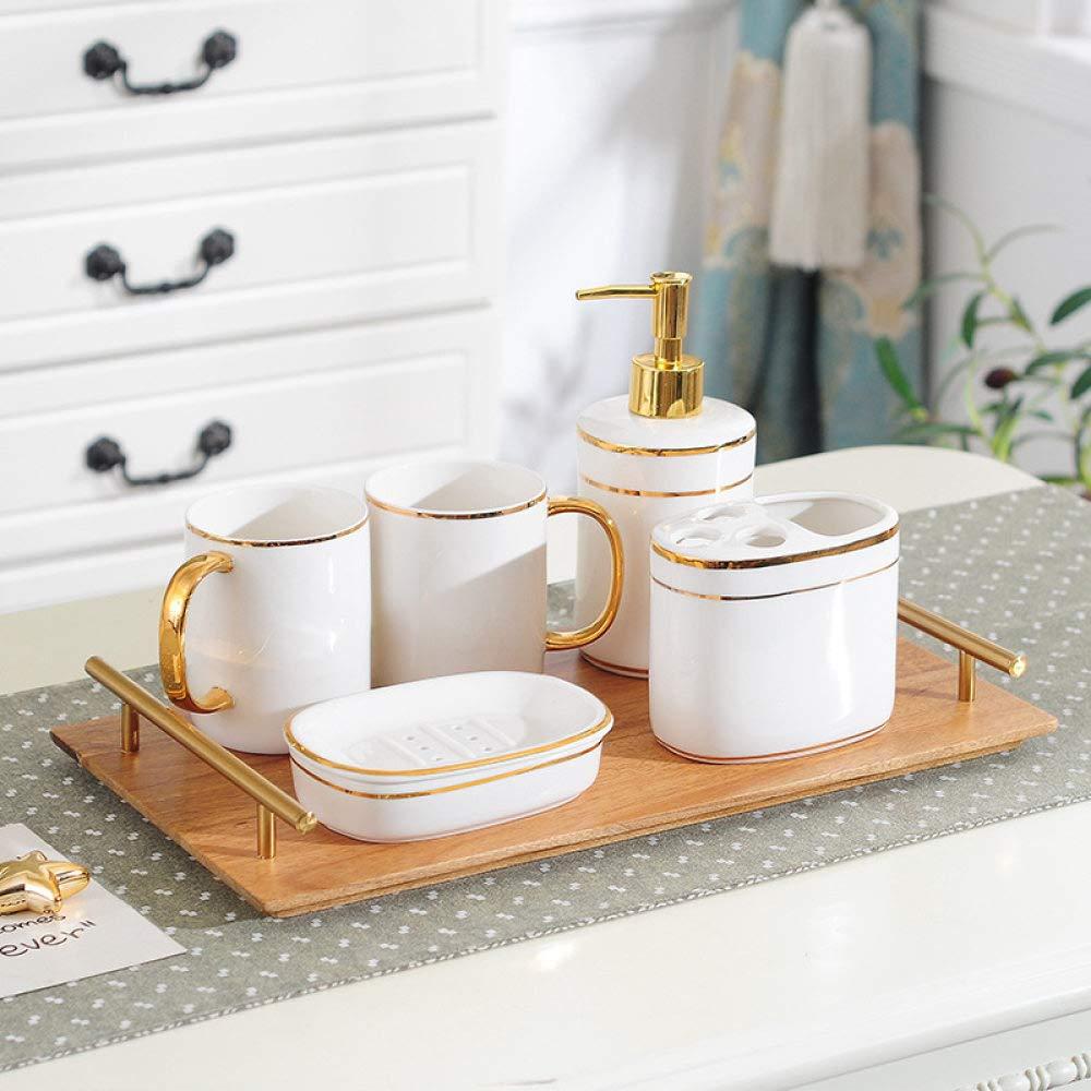 Accessori Bagno Set In Ceramica Arredo Bagno Imposta Verniciato Oro Semplice Penh 6 Pezzo Contengono Distributore Sapone 2 Pz Coppa Di Lavaggio In