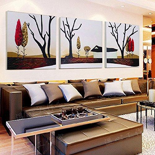 ZHFC-inneneinrichtungsgegenstände dekorative malerei malerei prozess 3d dreidimensionale bild dreidimensional relief wandgemälde haut gemälde haus des glücks,80 * 80 drei stück setzen (Stück Wohnzimmer 3 Leder)