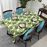 XDLUK Tischdecke Segelbuch Rechteckiges Quadratisches Modern Simple Tischtuch Fleckenschutz Wassedicht Abwaschbare Tischwäsche mit Blatt Muster, Grün,90x140cm
