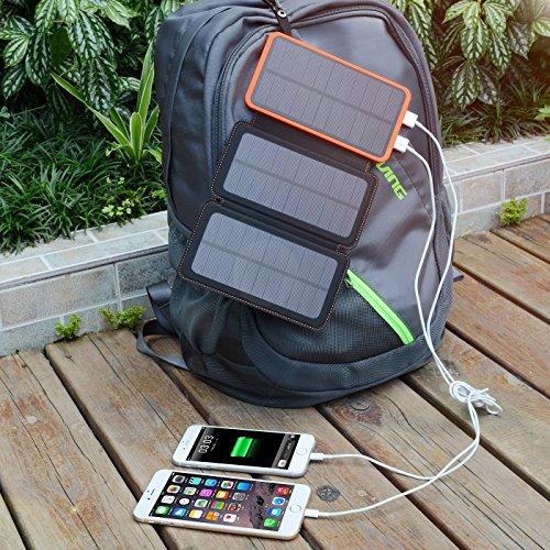 Hiluckey Solar Ladegerät 10000mAh Tragbare Power Bank Outdoor 3 solarzelle 2-output faltbar wasserdicht Externe Akku mit LED Taschenlampe für Samsung Galaxy,iPhone,iPad,Andriod Smartphones,usw. - 3