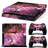 Stillshine Decal Full Body Faceplates Skin Sticker For Sony Playstation 4 PS4 console x 1 and controllers x 2 (Pink Galaxia)