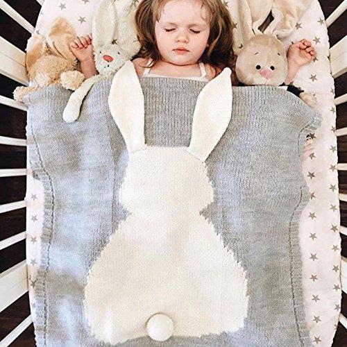 Fyore 3D Hase Muste Kuschelige Babydecke Strick Warme Baumwolle Gestrickt Kuscheldecke Baby Blanket 108x73cm (Grau)