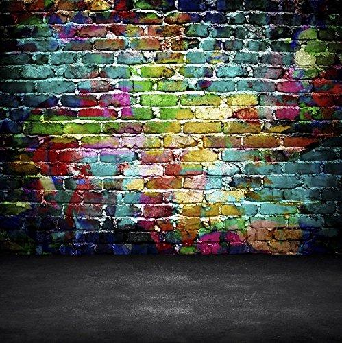 YongFoto 3x3m Foto Hintergrund Abstrakte Graffiti Backstein und Gray Floor Pastell Painted Brick Wall Grunge Ziegel Fotografie Hintergrund Photo Booth Erwachsene Kinder persönliche Portrait Studio