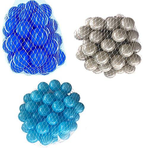 300 Bälle für Bällebad gemischt mix mit türkis, grau und blau