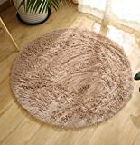 DZYZ Round Solid Color Carpet For Living Room Large Size Rugs Home Decoration , beige , 160*160cm