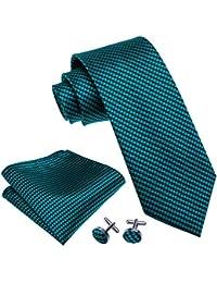 Barry.Wang Herren Krawatten-Set, quadratisch, Krawatte, Manschettenknöpfe, Krawatte