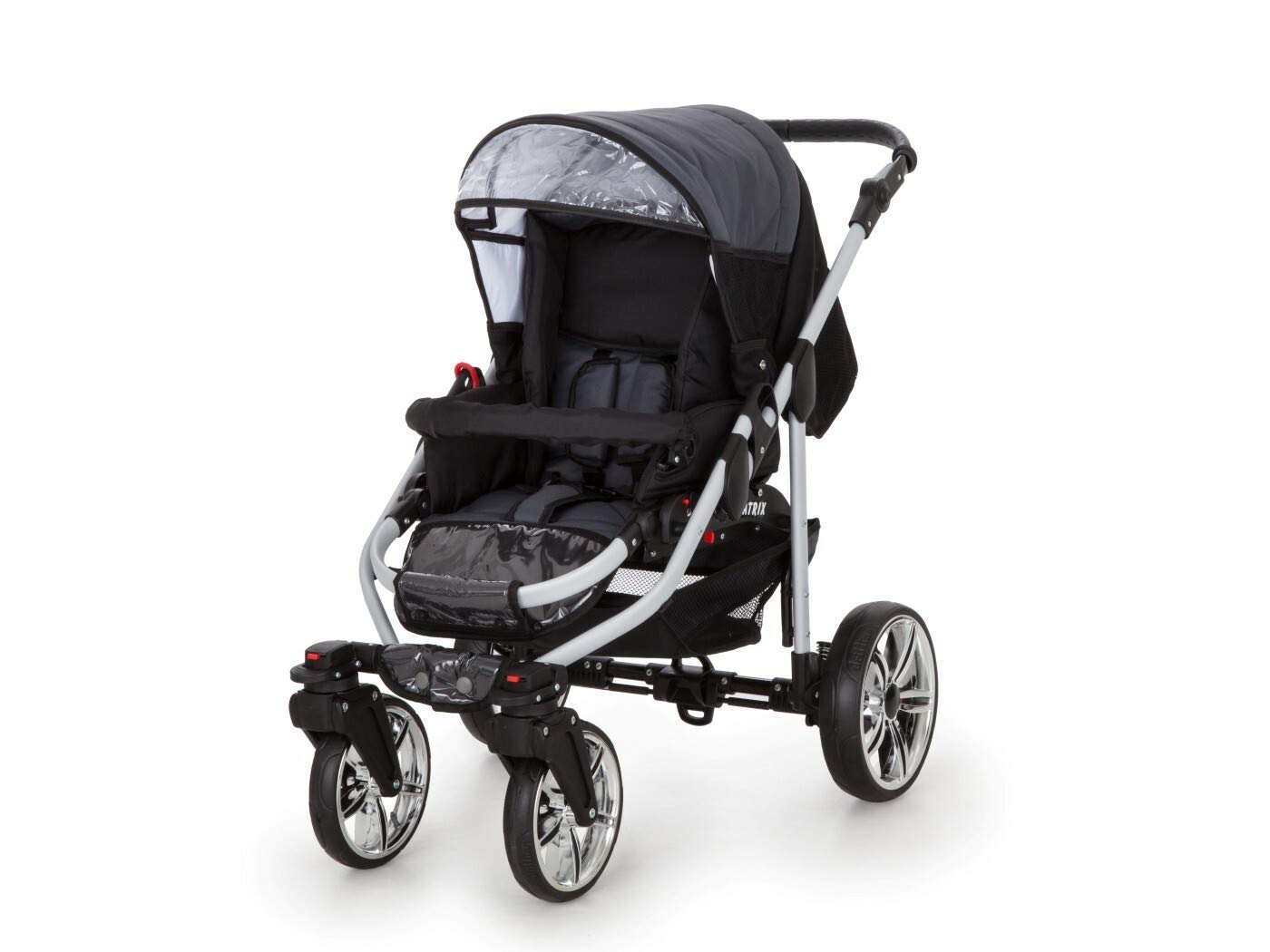 Travel System Stroller Pram Pushchair 2in1 3in1 Set Isofix X-Car by SaintBaby Black & Check 3in1 with Baby seat SaintBaby 3in1 or 2in1 Selectable. At 3in1 you will also receive the car seat (baby seat). Of course you get the baby tub (classic pram) as well as the buggy attachment (sports seat) no matter if 2in1 or 3in1. The car naturally complies with the EU safety standard EN1888. During production and before shipment, each wagon is carefully inspected so that you can be sure you have one of the best wagons. Saintbaby stands for all-in-one carefree packages, so you will also receive a diaper bag in the same colour as the car as well as rain and insect protection free of charge. With all the colours of this pram you will find the pram of your dreams. 5