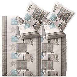 CelinaTex Touchme Skadi Biber Bettwäsche 135 x 200 cm 4-teilig beige Natur blau grau Flauschiger Bettbezug Home Weihnachten Muster 6000052