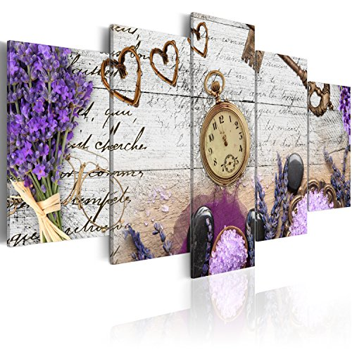 Cuadro en Lienzo 100x50 cm- 3 tres colores a elegir - 5 partes - Impresion en calidad fotografica - Cuadro en lienzo tejido-no tejido - Vintage Reloj f-A-0011-b-n 100x50 cm B&D XXL